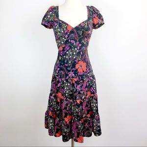 Betsey Johnson Silk retro dark floral dress 4
